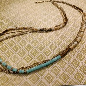 Long Necklace Turquoise White Tan Colored Beads